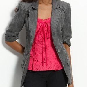 Nanette Lepore Gray Linen Lace Up Blazer Jacket